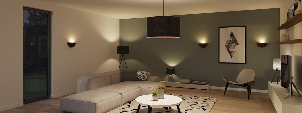 Ausgeleuchtetes Wohnzimmer mit Hilfe von der SLV-Plugin